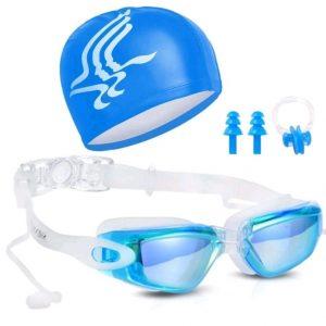 Occhialini da nuoto anti-UV con tappi per le orecchie