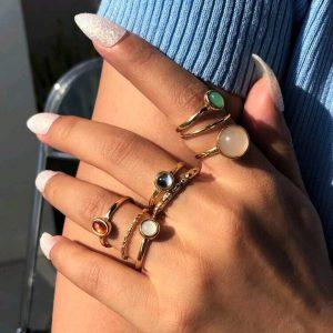 8 pezzi anello con pietra